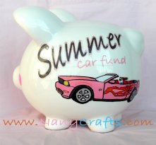 Hot Pink Mustang Piggy Bank