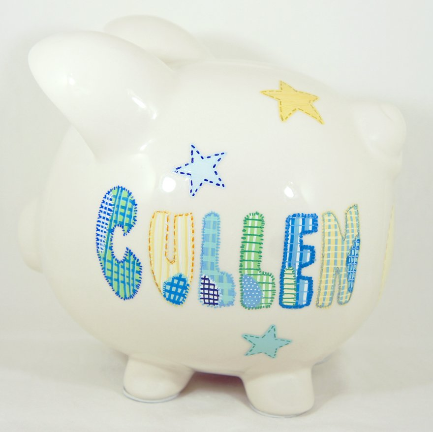 Cute shiny night personalized piggy bank for kids for Piggy bank for toddlers
