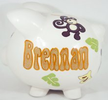 Monkey Theme - Personalized Piggy Bank for Kids