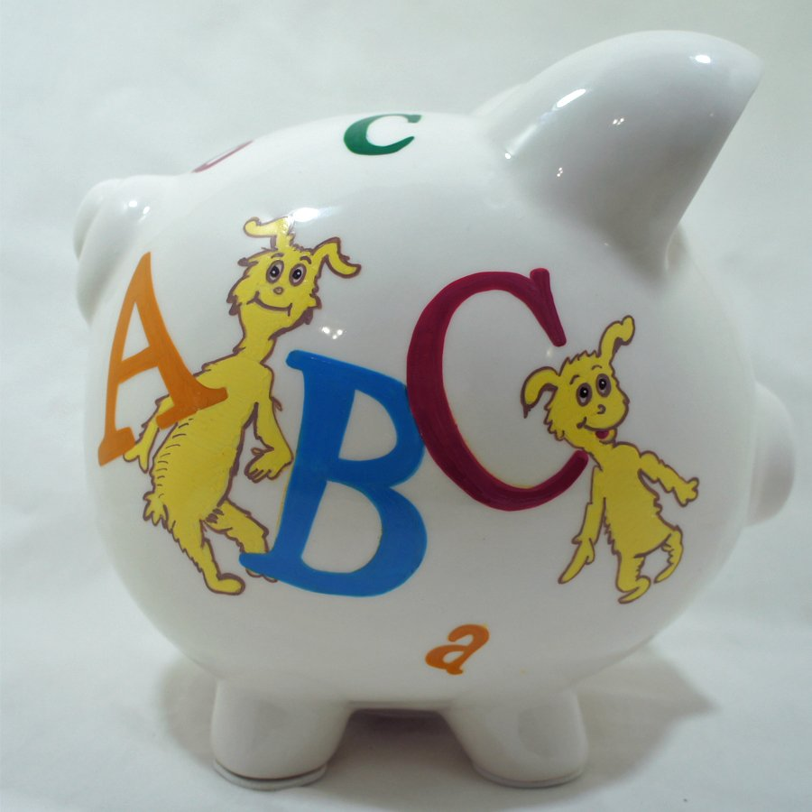 Personalized Piggy Bank For Kids - ABC Dr Seuss - NanyCrafts