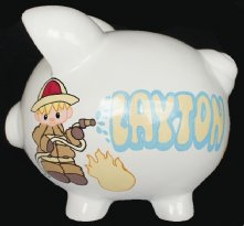 Baby Firefighter Piggy Bank