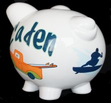 Young Surfing Personalized Piggy Bank