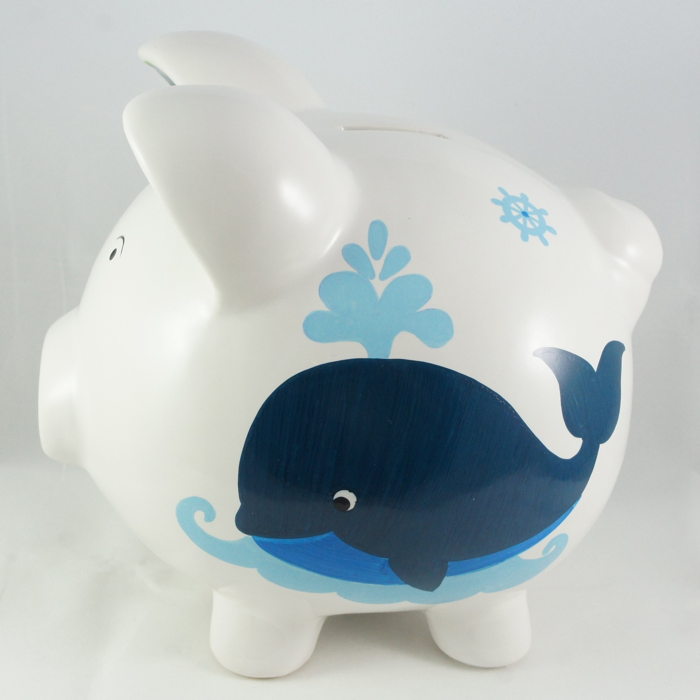 Nautical whale piggy bank nanycrafts - Nautical piggy banks ...
