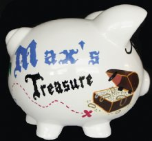 Pirate Piggy Bank And Treasure