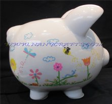 Small Bugs and Flowers Piggy Bank
