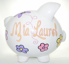 Butterfly and Flowers Piggy Bank