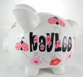 Pink and Black Ladybugs Piggy Bank