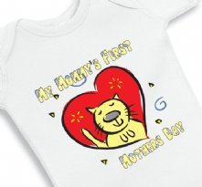 My Mommys First Mothers Day Red Heart Baby Onesie
