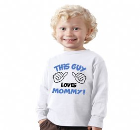 This Guy Loves Mommy baby boy bodysuit or kids shirt