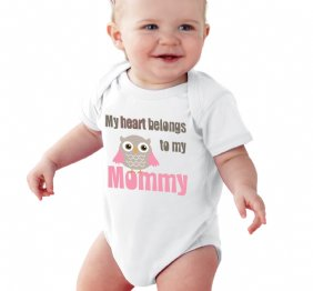 My Heart Belongs to Mommy Girl Owl baby apparel