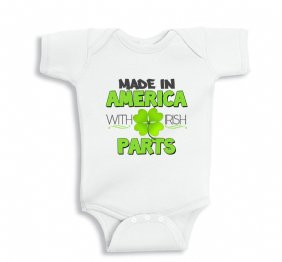 Made in America with Irish Parts Baby Bodysuit or Kids Shirt