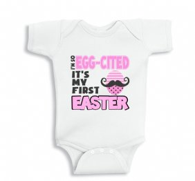 I Am So Egg-Cited It Is My First Ester - Baby Girl onesie