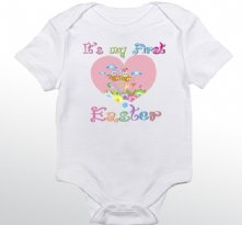 It is My First Easter Pink Heart - Personalized Baby Onesie