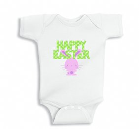 Happy Easter with Little Bunny Baby Bodysuit or Kids Shirt