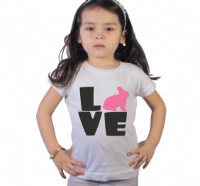 Love Easter Bunny Baby Bodysuit or Shirt For Girls