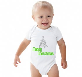 Merry Christmas Silver glitter tree baby bodysuit