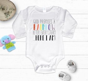 God Promises a Rainbow after every storm - White Baby Bodysuit Long Sleeve
