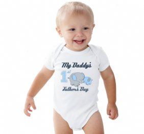 my daddy s first father s day baby boy onesie with cute elephants