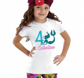 Personalized Little MERMAID Birthday Girl Aqua Glitter Shirt