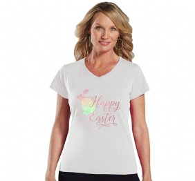 Happy Easter Watercolor Bunny Women Fit V-Neck Shirt