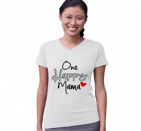 One Happy Mama Modern Women Fit V-Neck Shirt