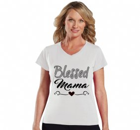 Blessed Mama Modern Women Fit V-Neck Shirt