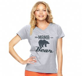Mama Bear Charcoal Women V Neck Tee