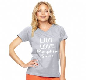Live Love Pumpkin Spice Women Modern V-Neck Shirt