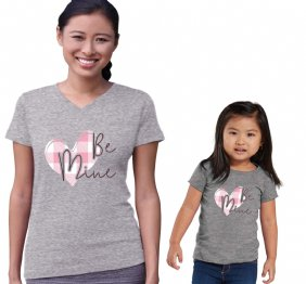 Be Mine Valentine Pink Plaid Mom and Daughter shirts Set