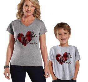 Be Mine Valentine Buffalo Plaid Heart Mom and Child Shirts Set
