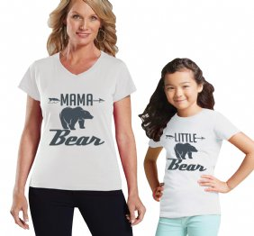 Mama Bear - little Bear Charcoal Mom and Me Matching Shirt Set