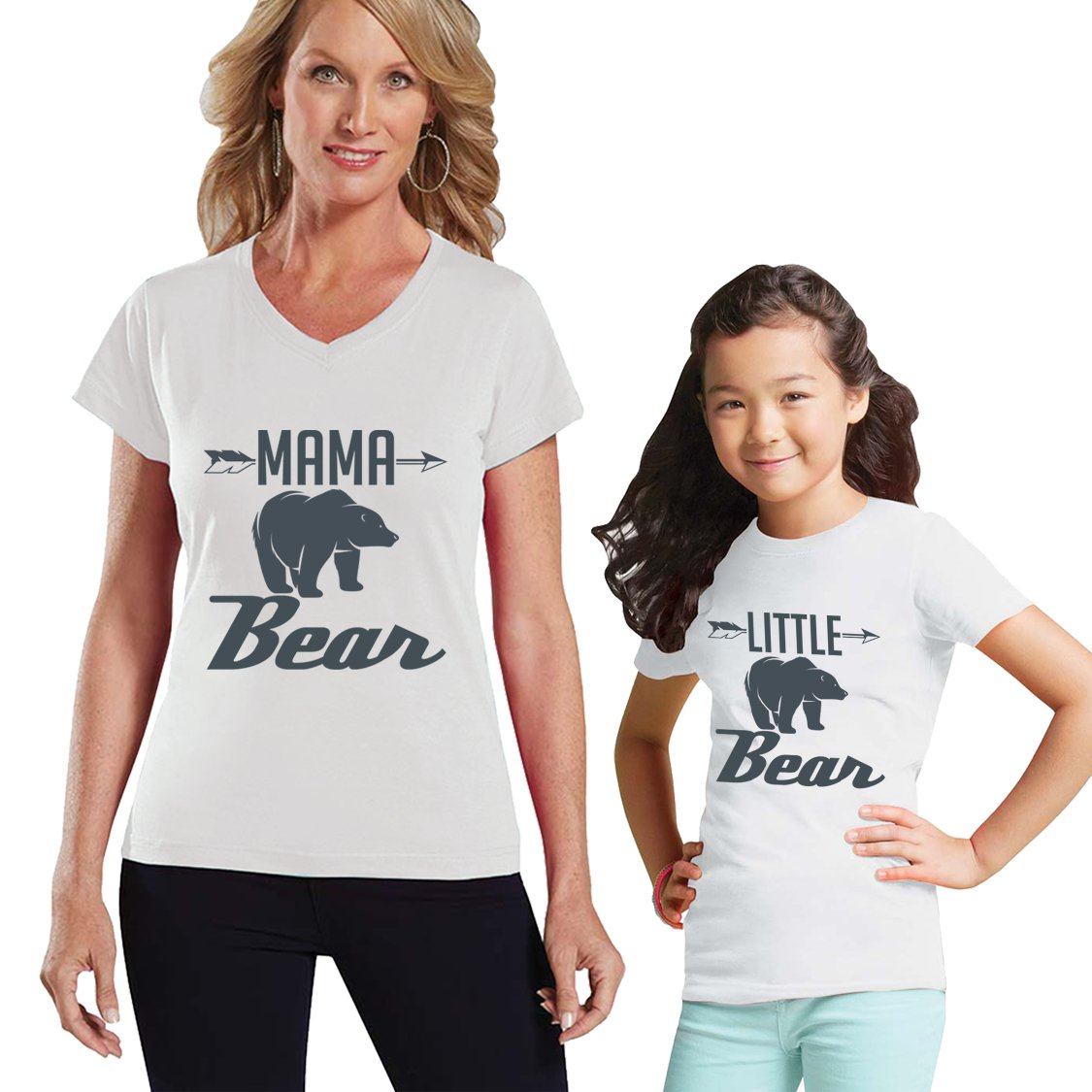 9fb1e6eb532 Mama Bear - little Bear Charcoal Mom and Me Matching Shirt Set ...