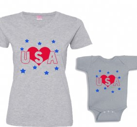Love USA Mommy and Me Set Matching shirts