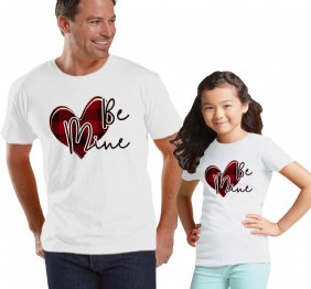 Be Mine Valentine Buffalo Plaid Heart Dad and Daughter Shirts Set