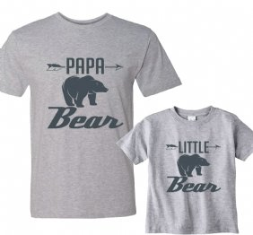 Papa Bear - Little Bear Charcoal Matching shirt set