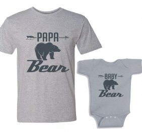 Papa Bear - Baby Bear Charcoal Matching shirt set
