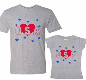Love USA Daddy and Me Set Matching Shirts