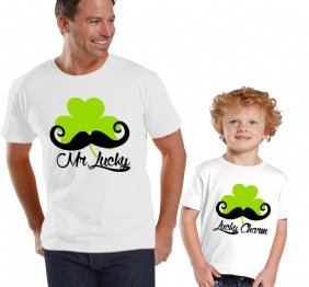 Mr Lucky Mustache Shamrock Daddy and Me Set
