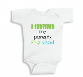 I survived my Parents first Year funny baby boy bodysuit or infant Shirt