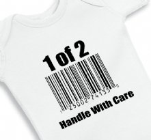 1 of 2 handle with care - twin baby onesie