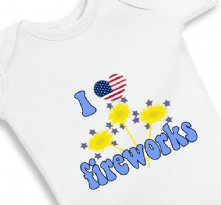 I love Fireworks - 4th of July baby onesie