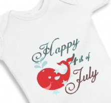 Happy 4th of July and Patriotic Whale baby Onesie