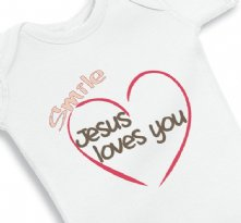 Smile Jesus Loves you baby onesie