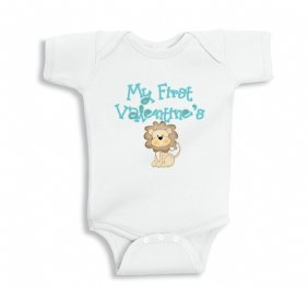 My First Valentines Baby Lion bodysuit or infant Shirt