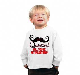 I Mustache you a Question Will you be my Valentine Baby Bodysuit