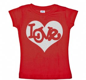 Love Inside Silver Glitter Heart Valentines Baby bodysuit Red