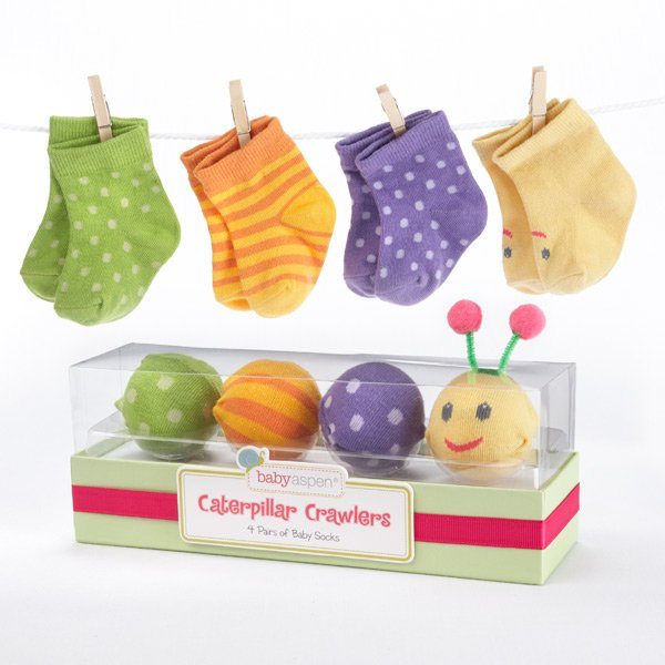 736195c0a3d9f Caterpillar Crawlers Baby Socks Baby Gift Set - NanyCrafts