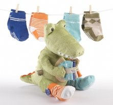 Croc in Socks Plush Toy and Baby Socks shower Gift Set Green