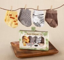 Sock Safari Four-Pair Animal-Themed Sock Baby Shower Gift Set