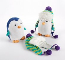 Ice Caps Penguin plush animal and hat baby gift set